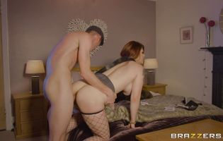 Tempting redhead beauty Lucia Love has her tight butt mercilessly plowed