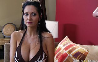 Fascinating woman Ava Addams with big natural tits has a tight butt and she receives a cock