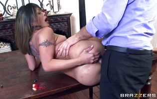 Dissolute brunette eastern minx Kaylani Lei with massive natural tits is getting her tight ass drilled from the back