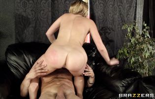 Appealing girl Mia Malkova with huge natural tits impales her perfect booty on a long pipe