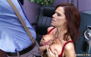 Marvelous redhead Syren De Mer is getting bum fucked and screaming from pleasure because she likes it a lot