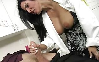 Naughty girl Veronica Rayne getting her tight butt fucked with a stiff packing monster