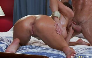 Breathtaking Veronica Avluv is rubbing her clit while getting ass fucked hard by playmate