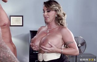 Naughty lady Holly Halston receives a massive dink in her juicy ass