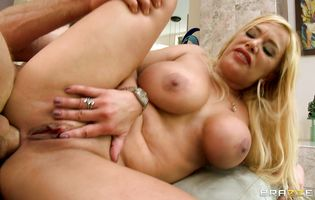 Seductive blonde Shyla Stylez is gently rubbing her perfect butt to get ready for fucker's love rocket
