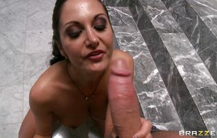 Angelic brunette gf Ava Addams with great natural tits is getting anal banged by fucker after he licked her tight tang