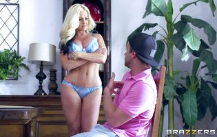 Delightful blonde girlfriend Alena Croft with curvy tits booty fucked by her hunky strong male