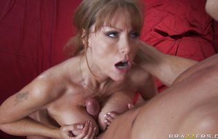 Lewd redhead mom Darla Crane takes a donga up her butt and moans as it makes her extra