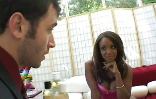Engaging black brunette Sinnamon Love has her round ass stretched pretty wide