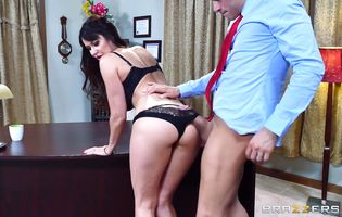 Frisky brunette darling Eva Karera got her bum thoroughly licked right before she got booty fucked like never before