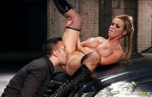 Foxy woman Nikki Benz with big tits demonstrates meat member sucking talent in front of the camera and gets analized