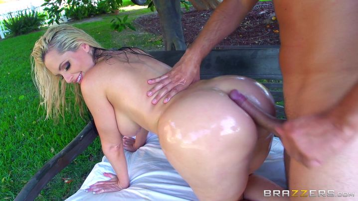 Shameless busty blonde Alena Croft has her angel butt stretched by a big schlong