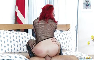 Sassy redhead Mia Lelani with firm tits got booty fucked as deep as it was possible