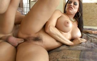 Naughty latina Sheila Marie shows her bum to a fucker