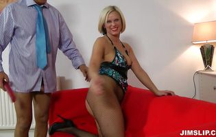 Vigorous blonde gal Anna Joy receives a thorough bum diving and deep plowing