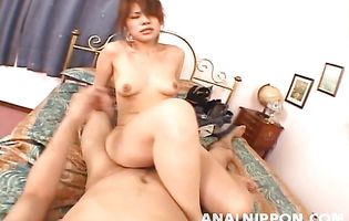Charming Sara Nakamura gave a blowjob to bf before he booty fucked her