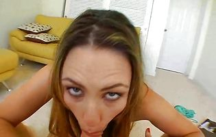 Dissolute busty girlie Rucca Page is about to start moaning from pleasure while male is licking her booty