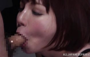 Insatiable asian diva Ryo Tsujimoto gets her perfect copher licked and booty banged