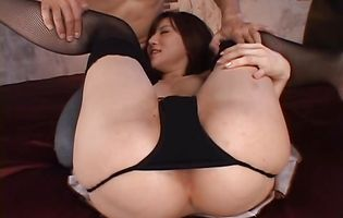 Foxy asian diva Yuria Satomi got her booty stuffed good with tool and creampied well