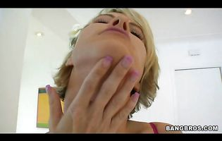 Lovely blonde chick Kayla Synz with firm natural tits is being fucked in her tight ass by her fuckmate