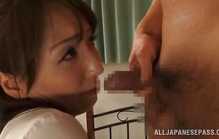 Playful floosy Shiho experiences her first anal drilling on camera