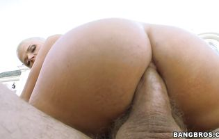 Savory blonde cutie Joslyn James is getting bum banged as hard as hunk is able to handle until she cums