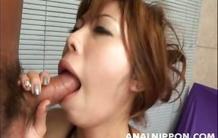 Magnificent asian Haruka Endou fondles her ass before giving a handjob