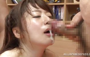 Fuck stick loving mouthwatering Saki Hatsuki is geting her tight booty fucked for the first time in her life