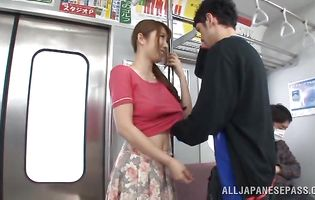 Elegant japanese floosy Azumi Kinoshita is having anal sex with pussy tester she is in love with