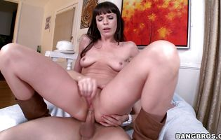 Nasty brunette Dana De Armond felt like screaming from pleasure while getting butt fucked but she tried not to